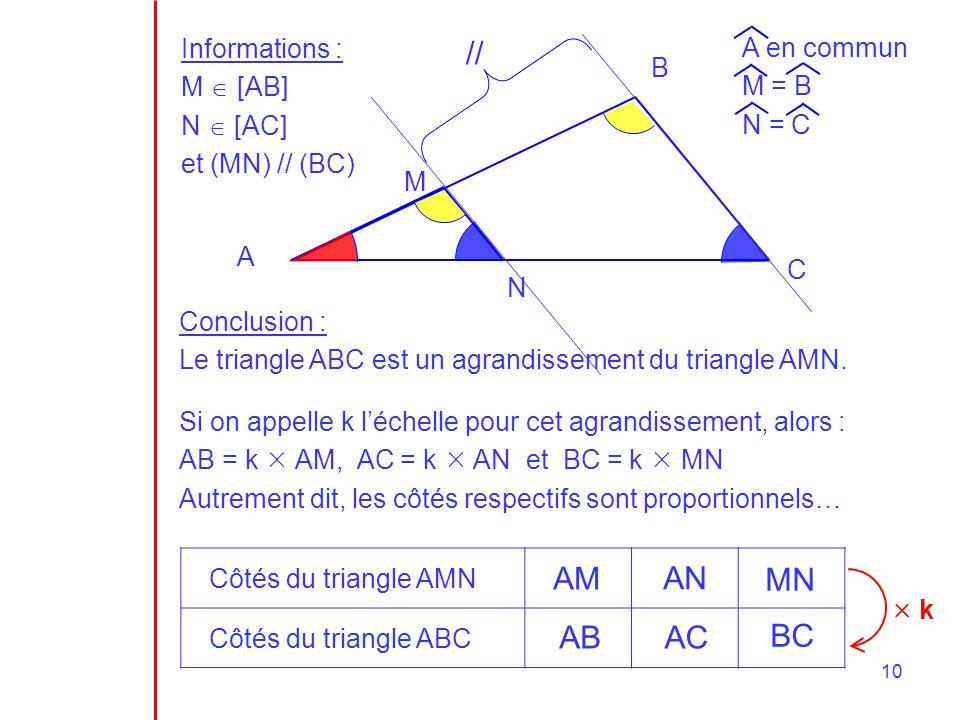 // AM AN MN AB AC BC Informations : M  [AB] N  [AC] et (MN) // (BC)